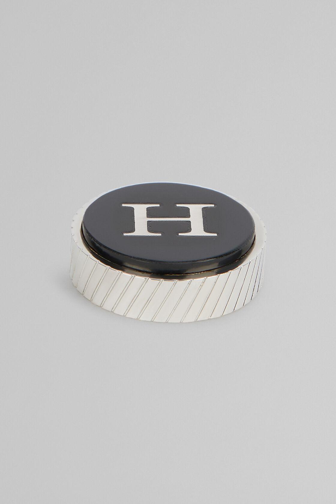 Gemello In Metallo Lettera H, Nero, hi-res