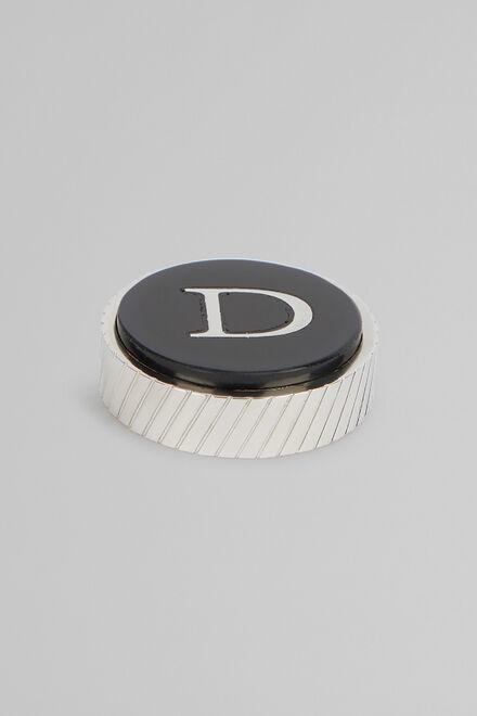 Gemello In Metallo Lettera D, Nero, hi-res