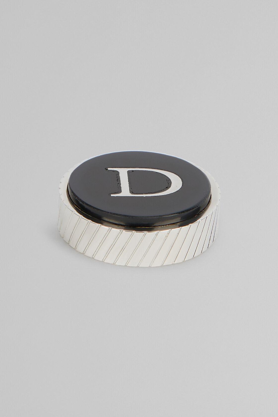 Metal Letter D Cufflinks, Black, hi-res