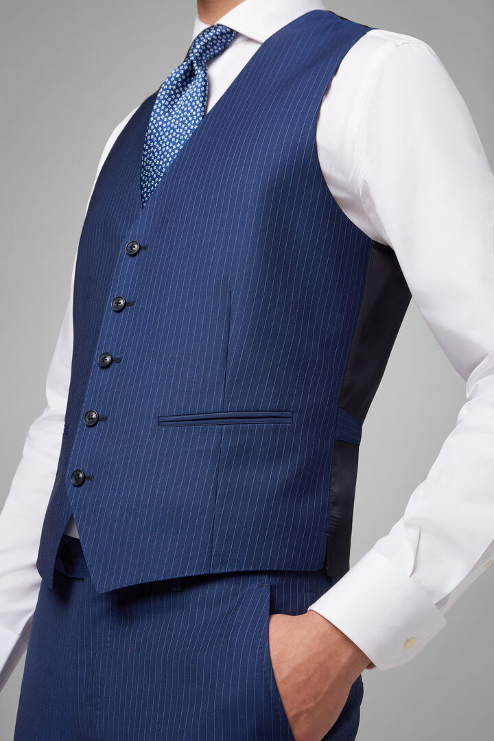 Pinstripe Wool Waistcoat, Blue, hi-res