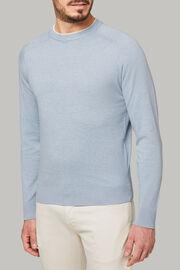 Maglia girocollo azzurro in cotone cashmere, Blu chiaro, hi-res