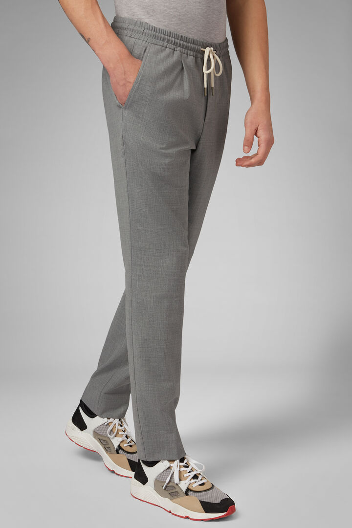 Pantalon En Laine Lavable Avec Cordon De Serrage Coupe Droite, Gris clair, hi-res