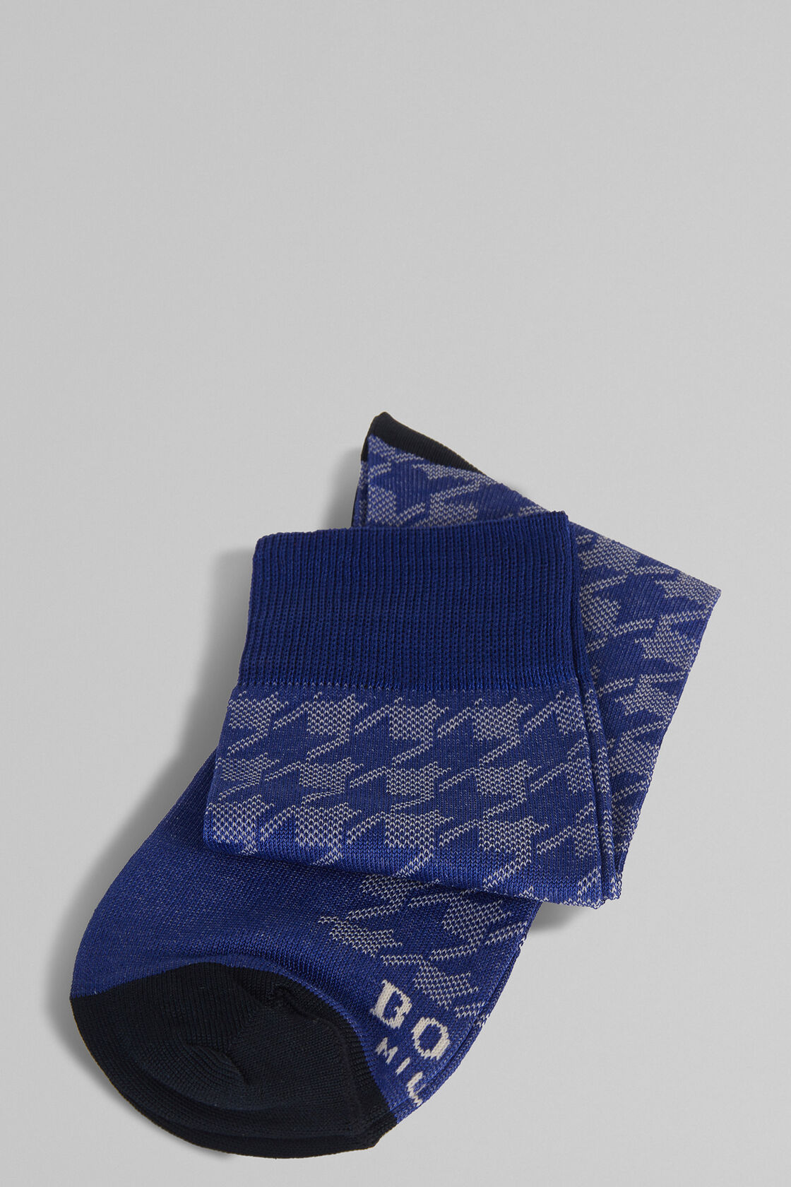 MACRO HOUNDSTOOTH STRETCH COTTON SHORT SOCKS , BLUETTE, hi-res