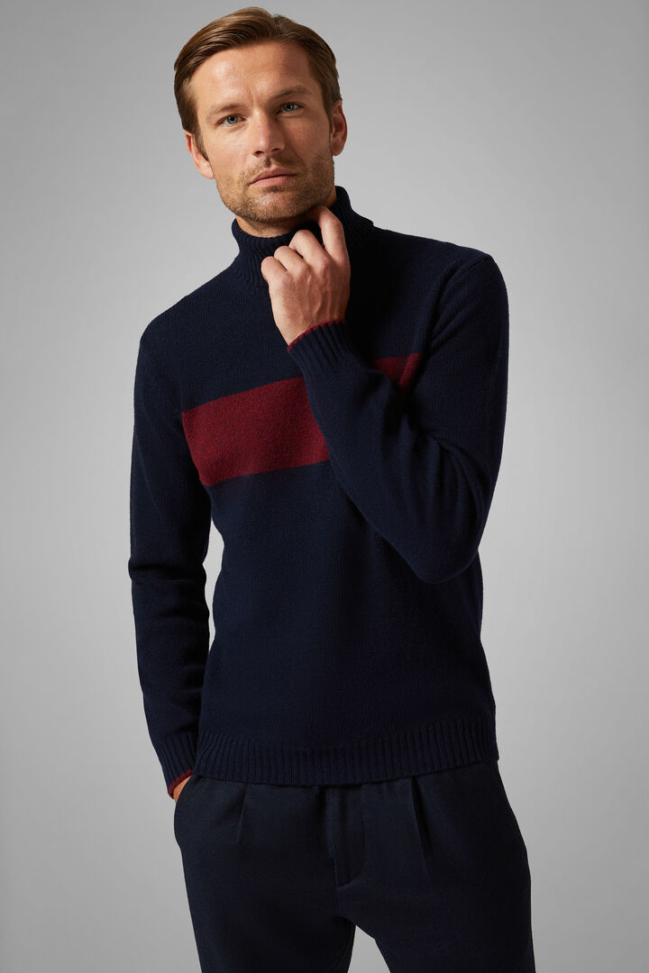 Wool Blend Polo Neck Jumper, Navy blue, hi-res