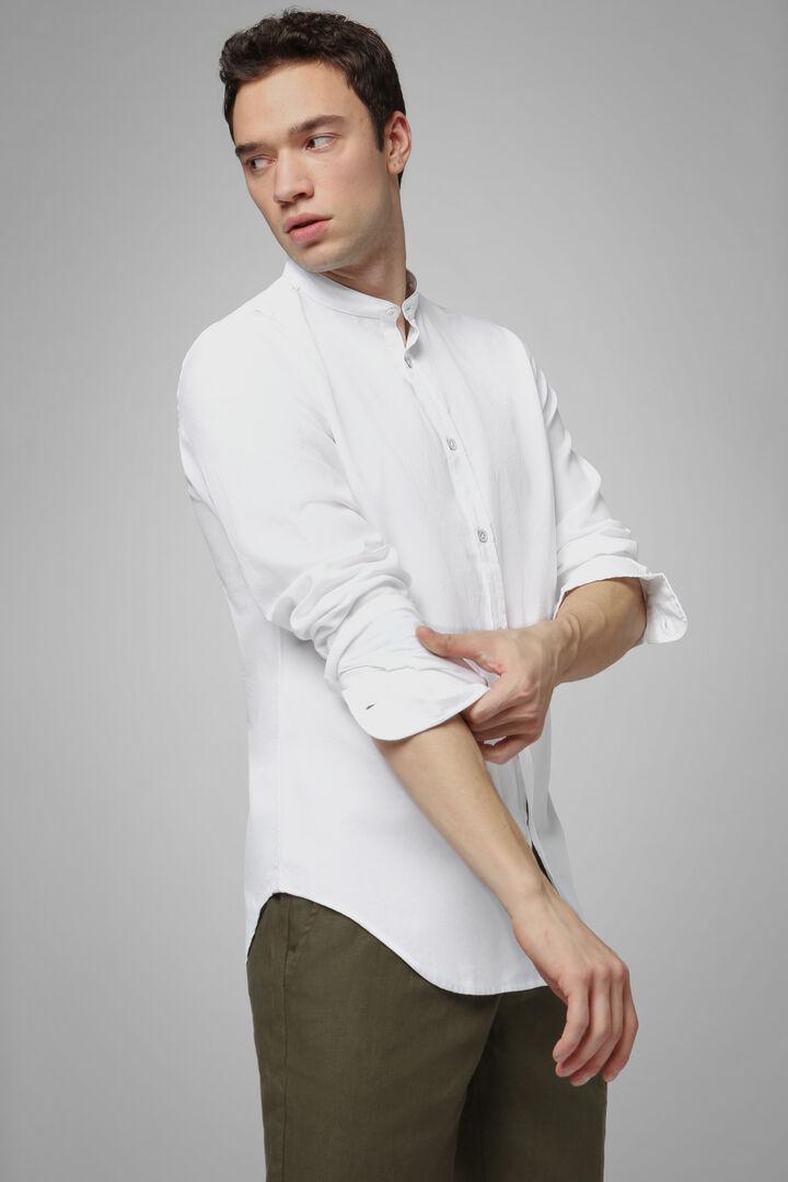 Camicia Azzurra Collo Coreano Regular Fit, Bianco, hi-res