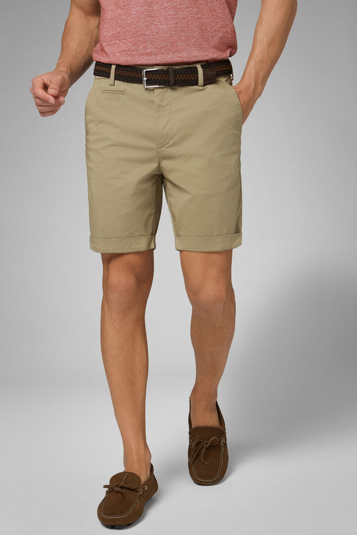 Plain Cotton Gabardine Bermuda Shorts, Beige, hi-res