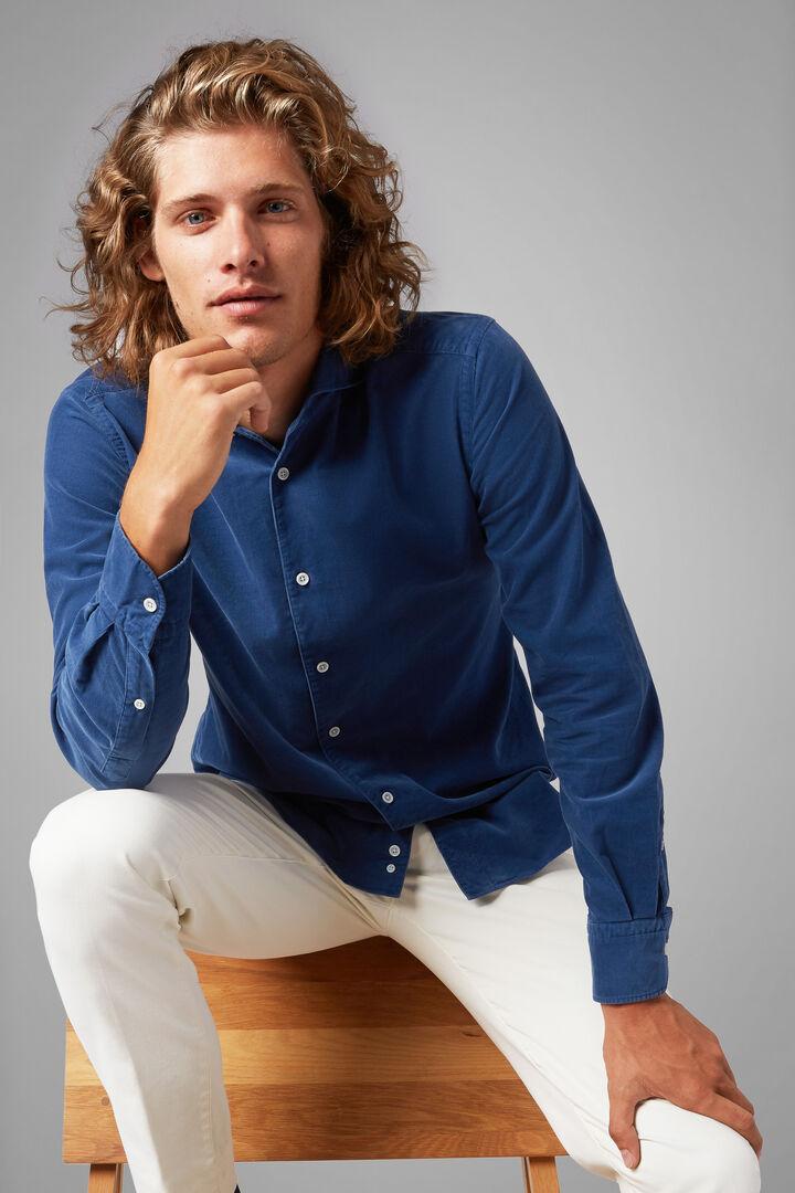 Regular Fit Blue Velvet Shirt With Bowling Collar, Blue, hi-res