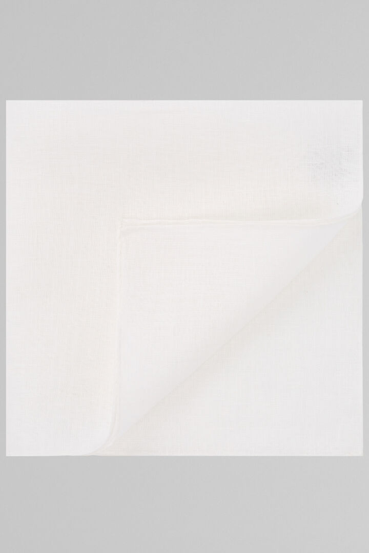 Plain White Pure Linen Pocket Square, White, hi-res