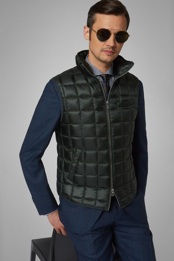 Square Quilted Nylon Gilet, Military Green, hi-res