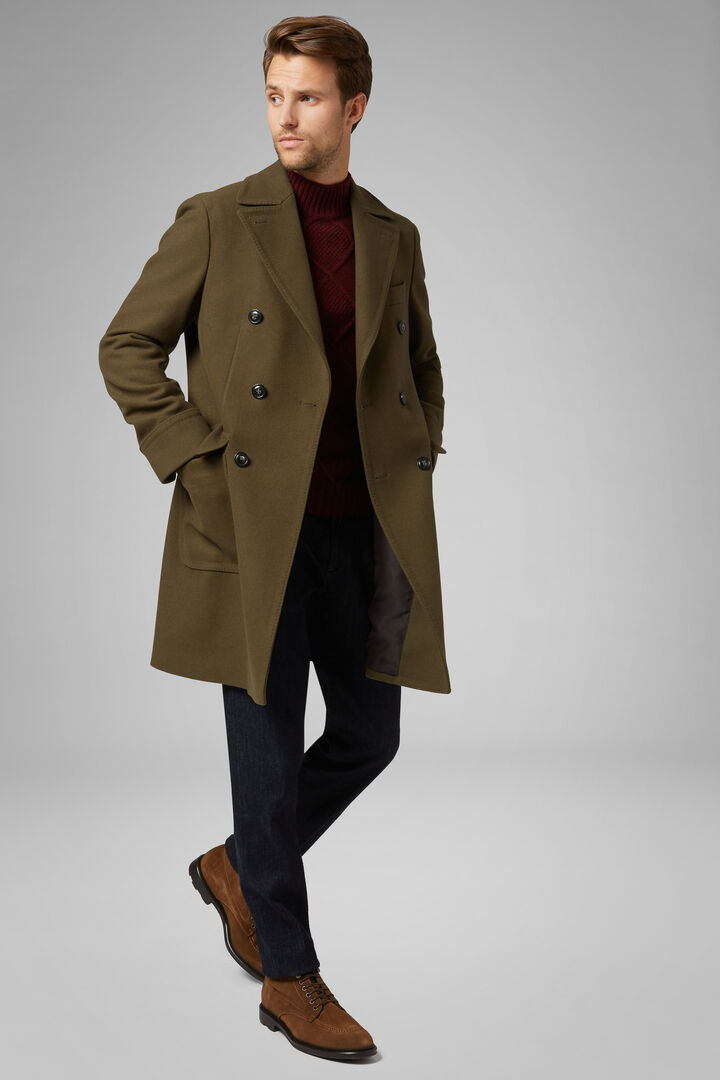 Double-Breasted Wool Coat, Military Green, hi-res