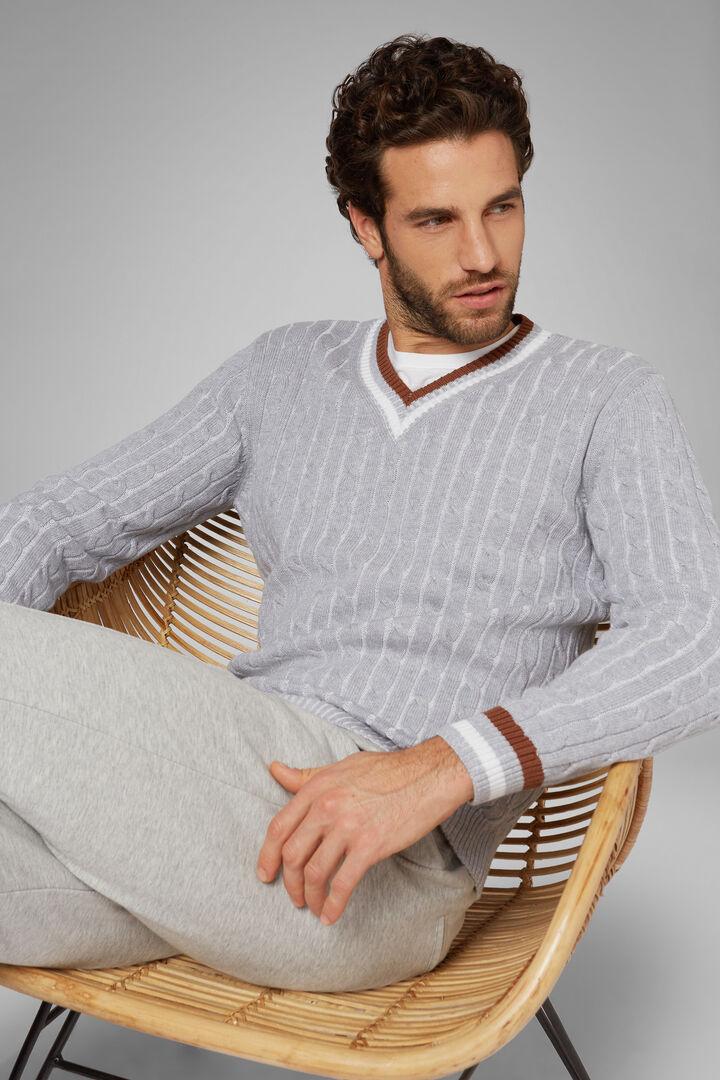 Pullover Mit V-Ausschnitt Aus Baumwolle, Grau, hi-res