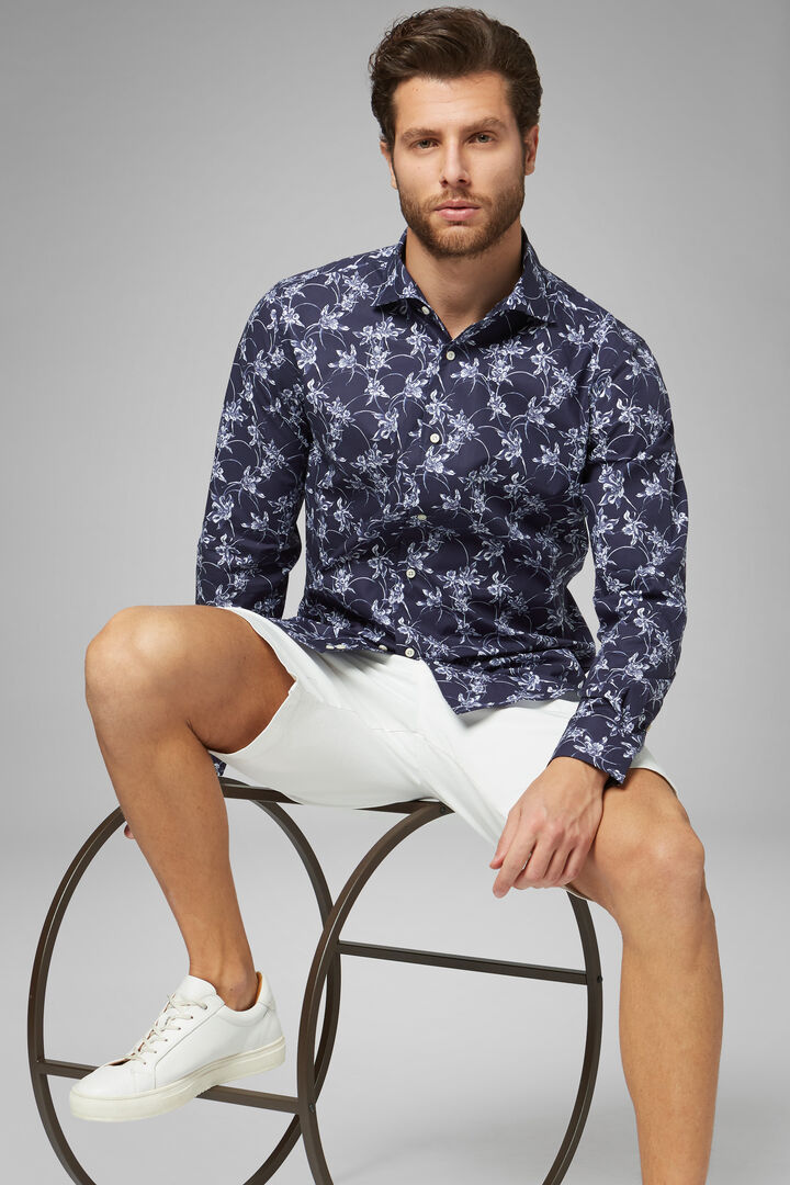 Regular Fit Blue Floral Print Shirt With Cuban Collar, Navy - White, hi-res