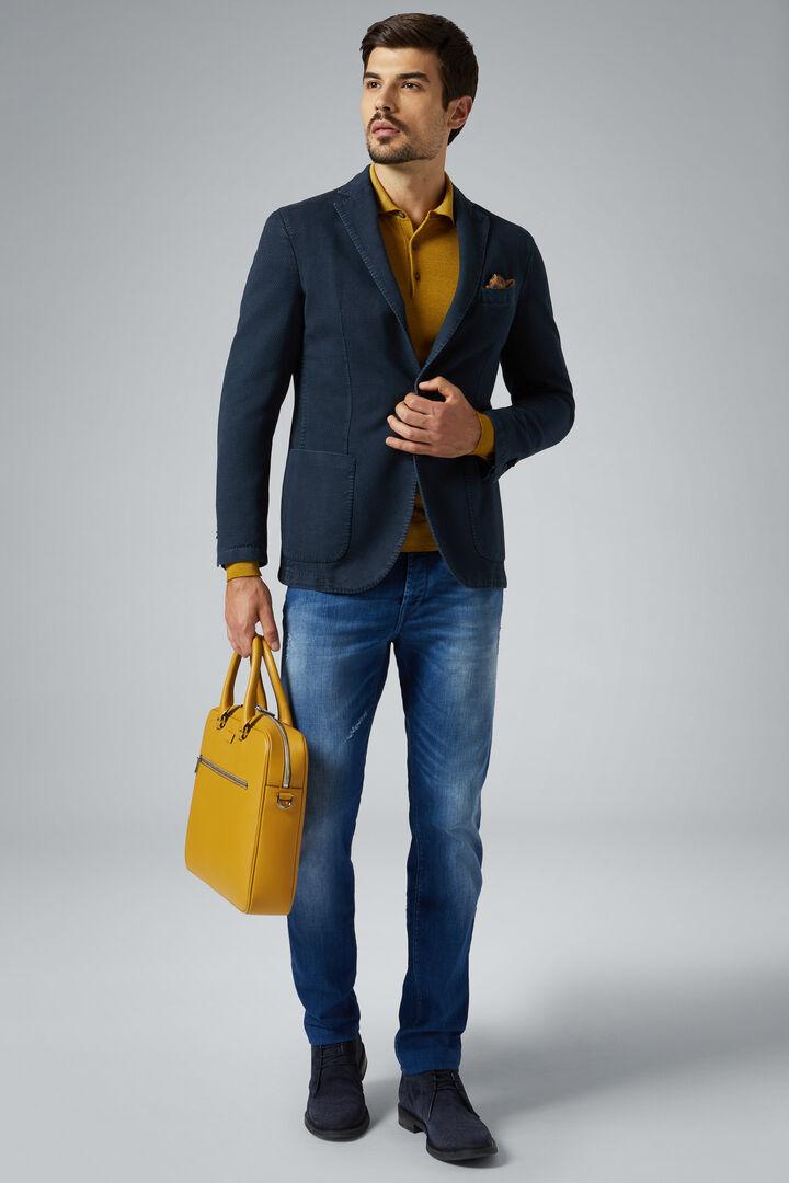 Blue Cotton Brescia Blazer, Blue, hi-res