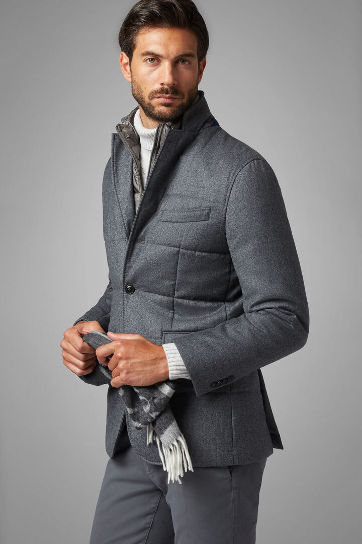 Flannel Quilted Jacket With Bib, Grey, hi-res