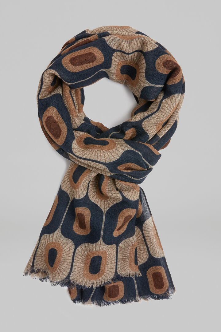 Printed Wool Scarf, Navy blue, hi-res