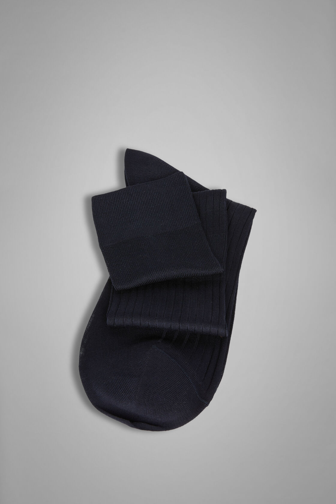 Ribbed Long Socks, Blue, hi-res