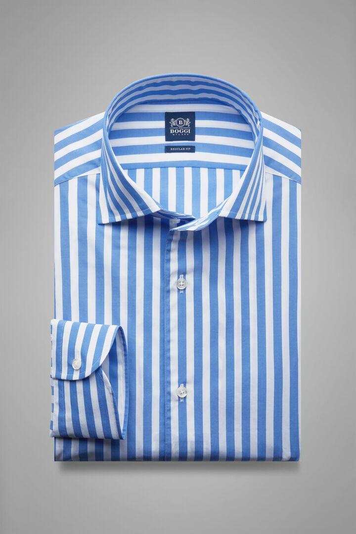 Regular Fit Sky Blue Striped Shirt With Capri Collar, White - Light blue, hi-res