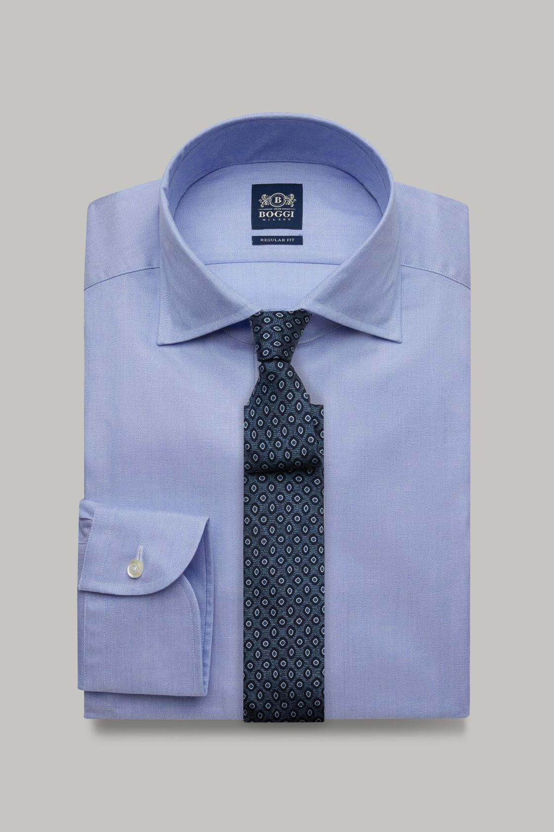 Azurblaues hemd mit capri-kragen aus baumwoll-twill regular fit, , hi-res