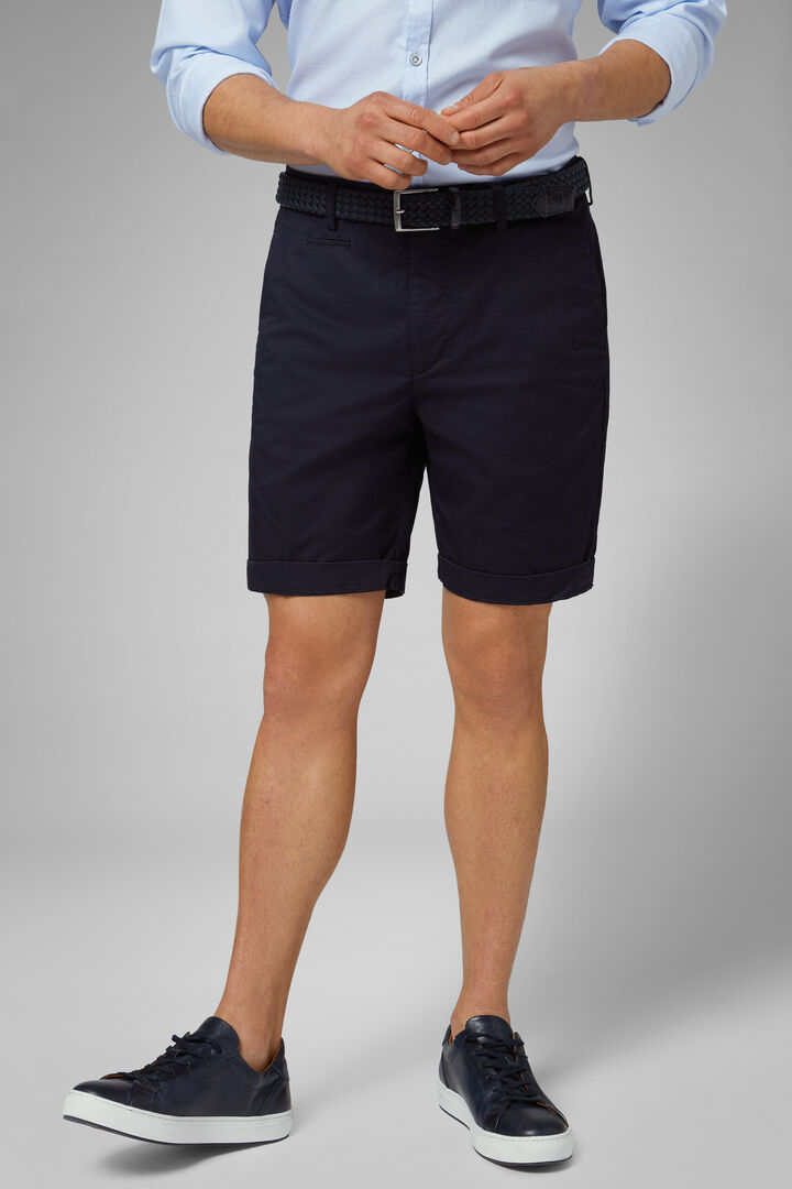 Plain Cotton Gabardine Bermuda Shorts, Navy blue, hi-res