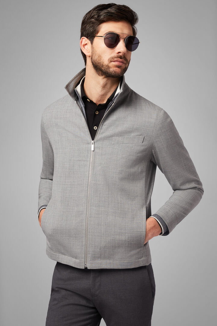 Shirt Jacket In Travel Wool, Grey, hi-res