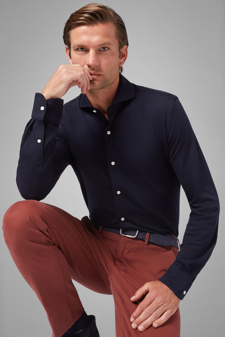 Regular Fit Navy Blue Casual Shirt With Open Collar, Navy blue, hi-res