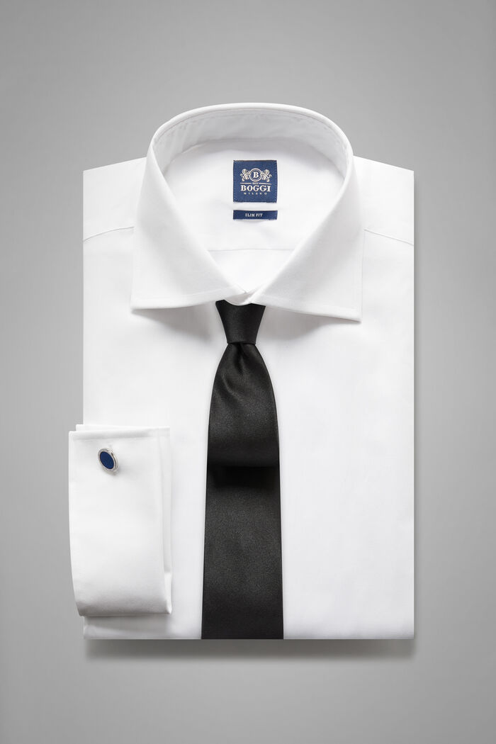 Slim Fit White Shirt With Windsor Collar, , hi-res