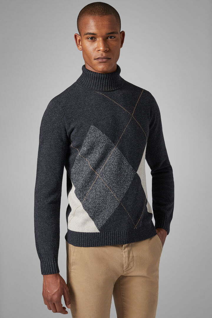 Wool Blend Polo Neck Jumper, Charcoal, hi-res