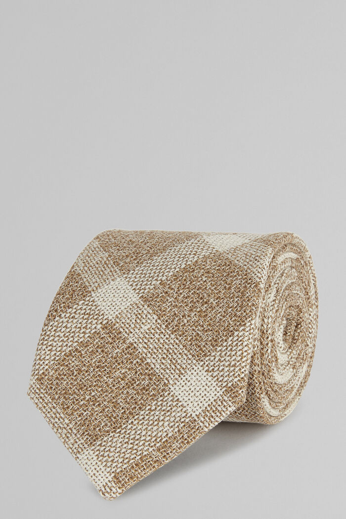Cravatta In Seta Lino Cotone, Naturale, hi-res