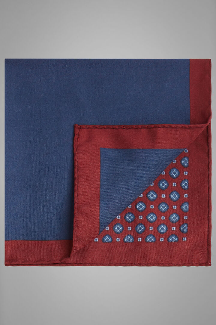 Printed Silk Pocket Square, Blue - Burgundy, hi-res
