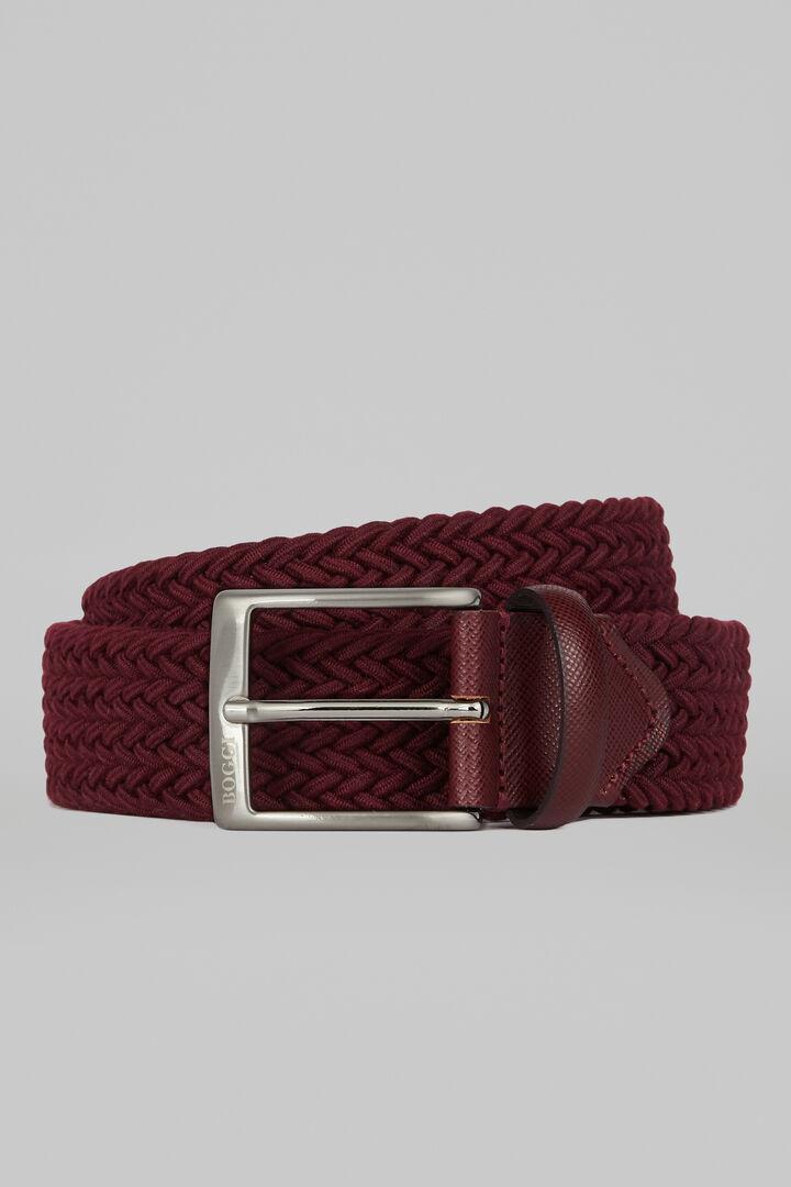 Woven Elasticated Belt, Burgundy, hi-res