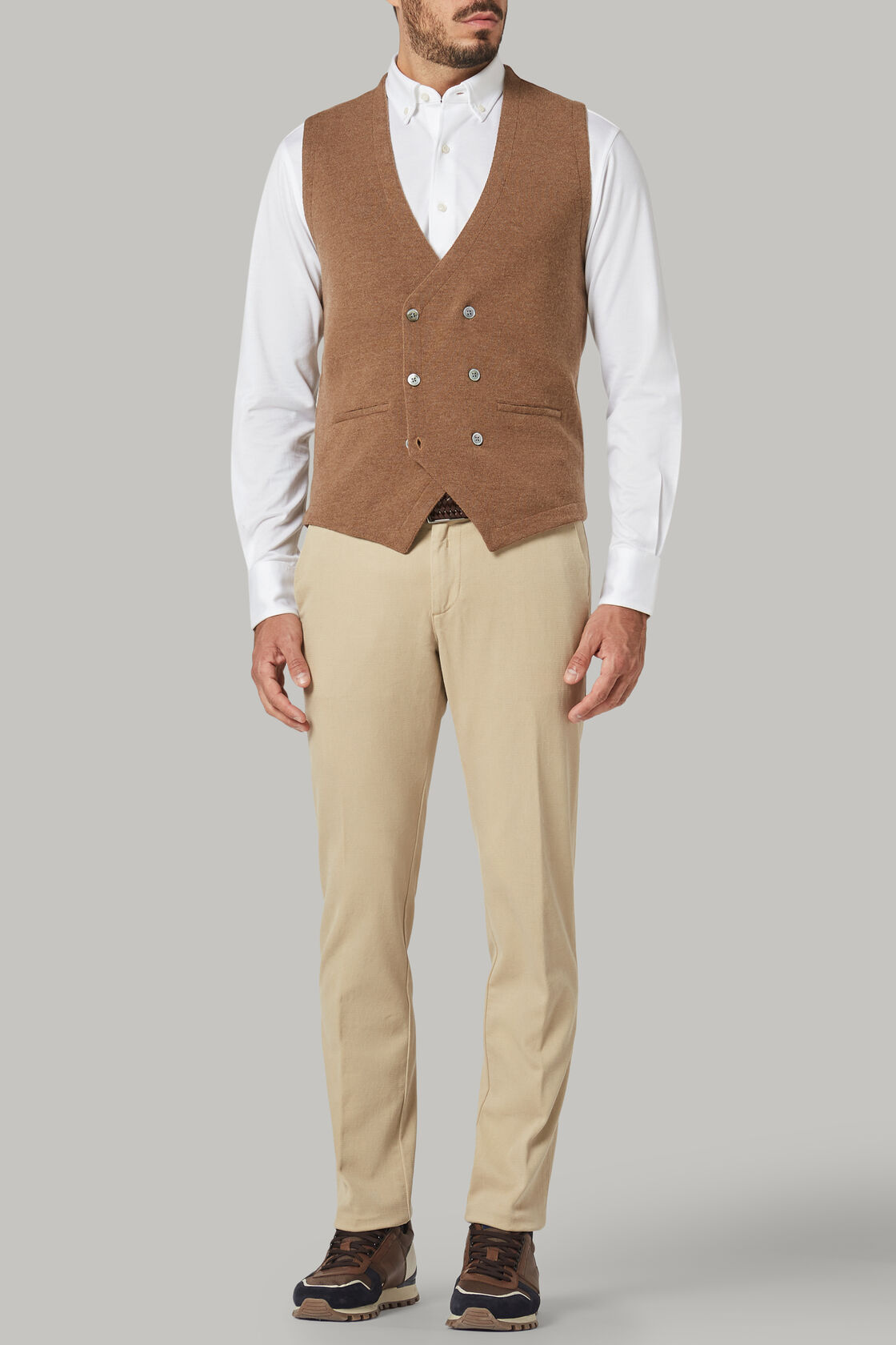 Beige merino wool double-breasted knitted waistcoat, Biscuit, hi-res