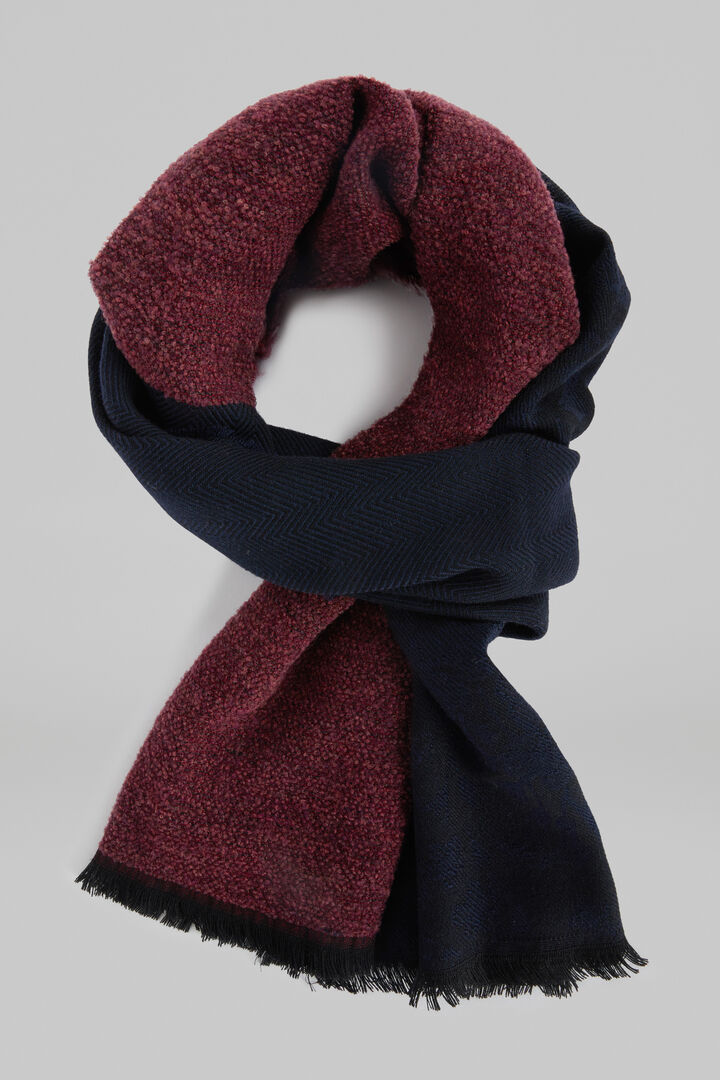 Mixed Pattern Wool Scarf, Blue - Burgundy, hi-res