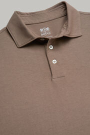 Polo in jersey di cotone crepe regular fit, Taupe, hi-res