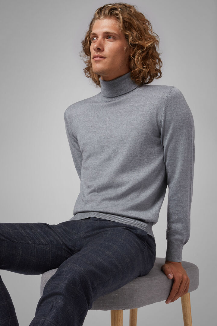 Extra Fine Merino Wool Polo Neck Jumper, Grey, hi-res
