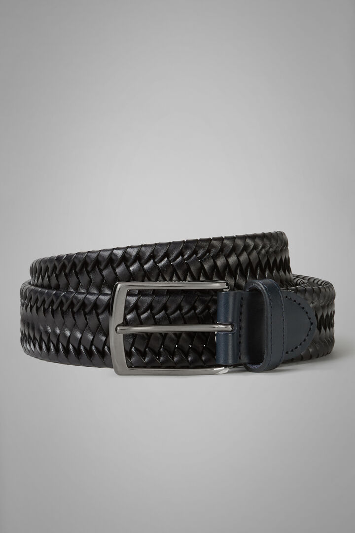 Woven Stretch Leather And Fabric Belt, Navy blue, hi-res