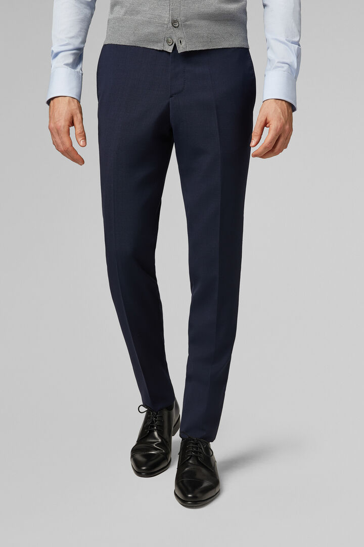 Slim Fit Blue Travel Suit Trousers, Blue, hi-res