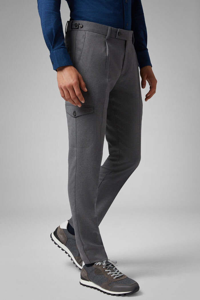 Pantalone In Flanella Di Lana Cargo Lavabile Slim, , hi-res