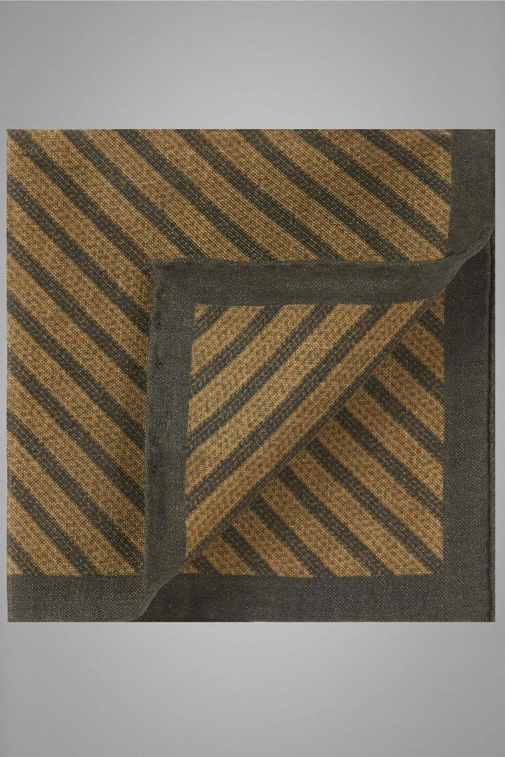 Printed Diagonal Weave Wool/Silk Pocket Square, Ochre, hi-res