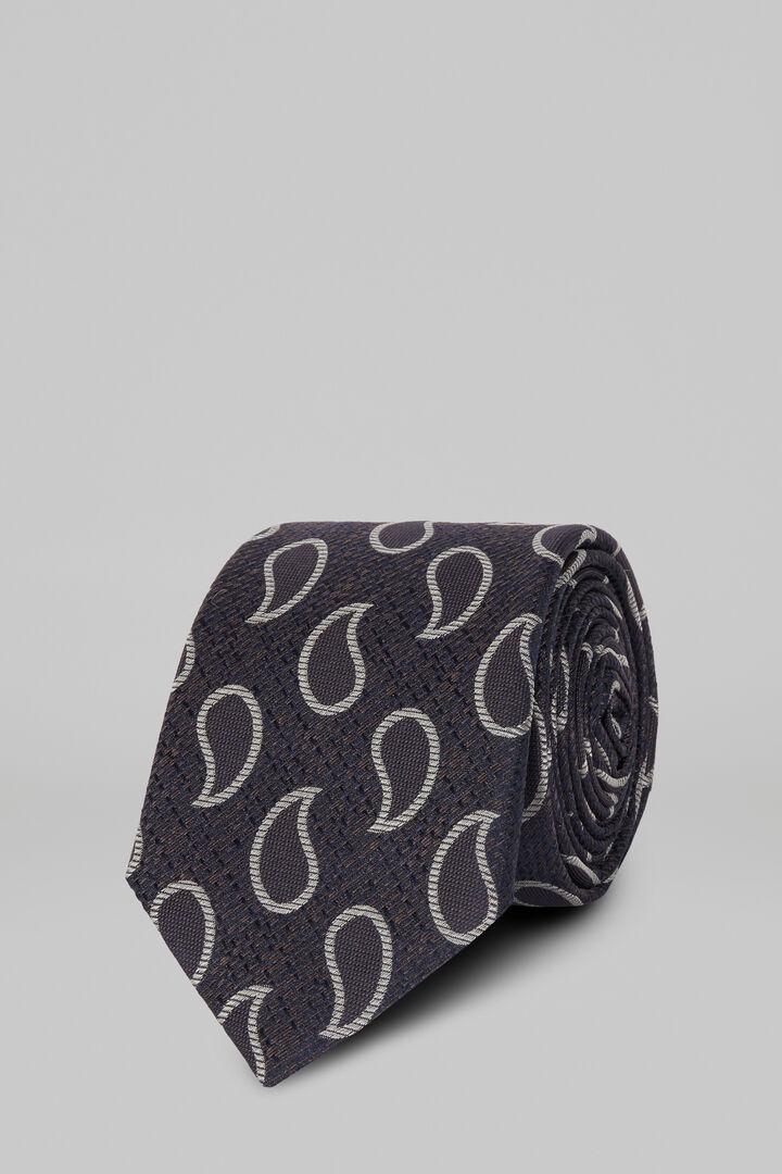 Cravate Macro Paisley En Soie Jacquard, Bleu - bleu clair, hi-res