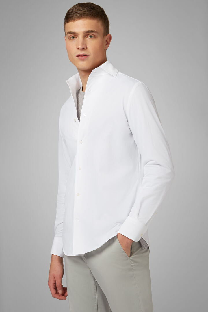Regular Fit White Casual Shirt With Cuban Collar, White, hi-res