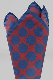 Pochette En Soie Imprimée Macro Pois, Bourgogne - Bleu, hi-res