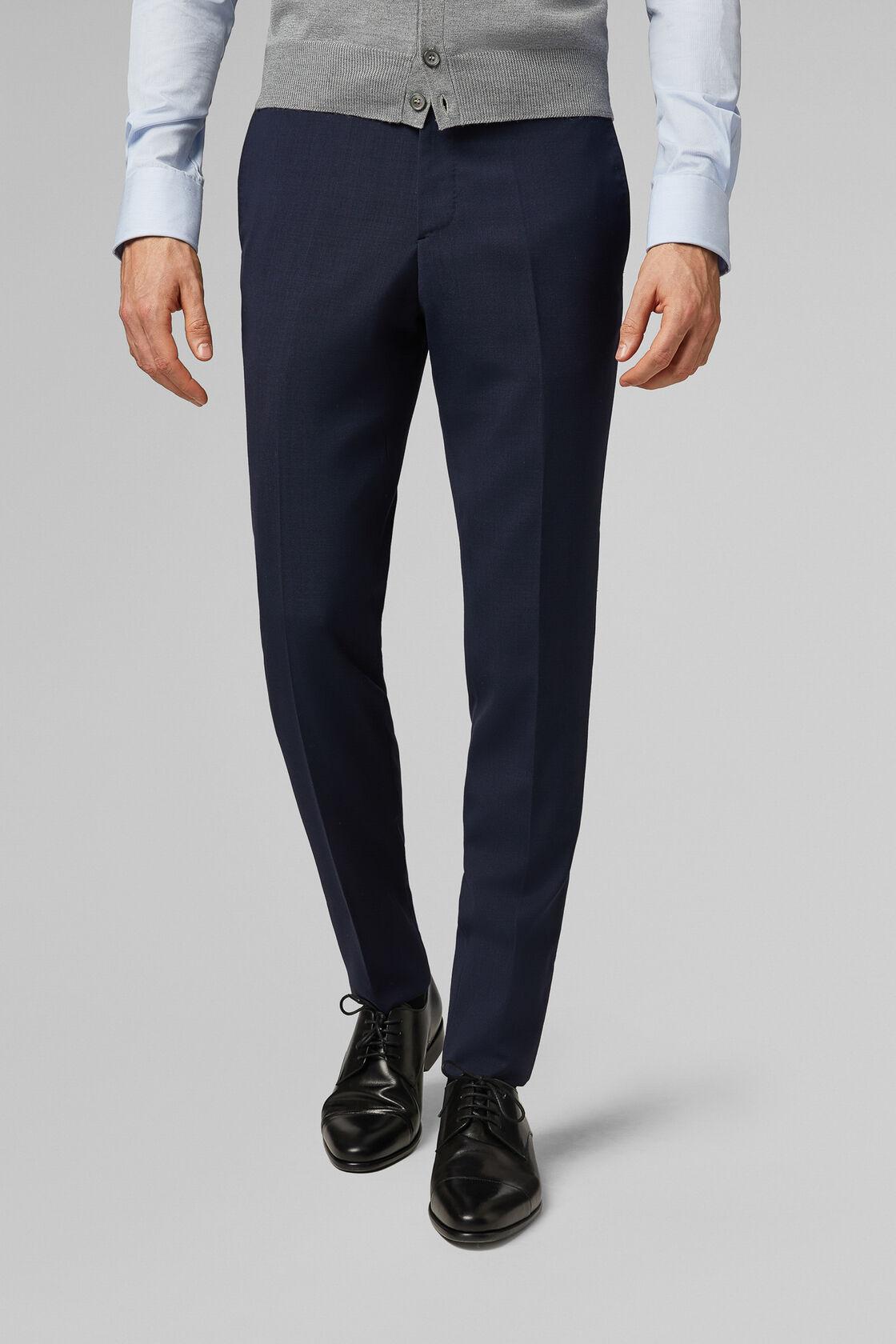 Pantalone Da Abito Blu In Lana Travel Slim, Blu, hi-res