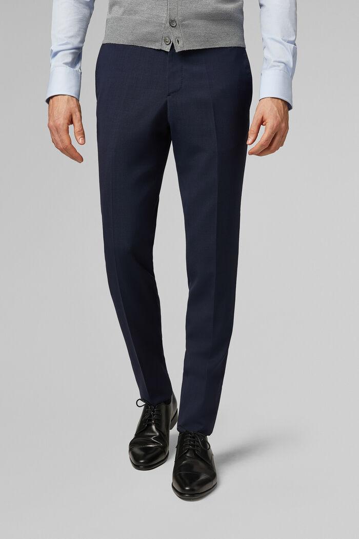 Pantalone Da Abito Blu In Lana Travel Slim, , hi-res