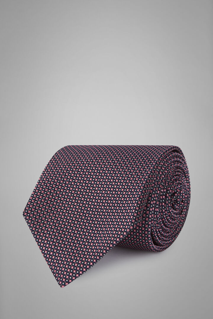 Patterned Silk/Cotton Jacquard Tie, Blue - Pink, hi-res