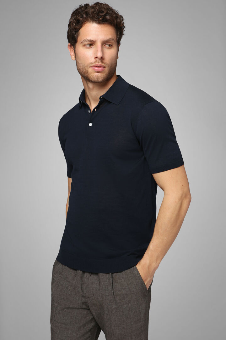 Navy Blue Cotton Crepe Jersey Polo Shirt, Navy blue, hi-res