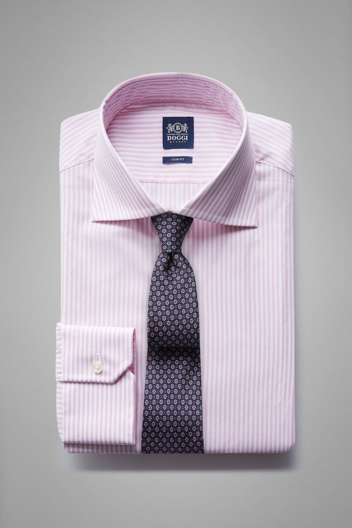 Slim Fit Pink Striped Shirt With Windsor Collar, White - Pink, hi-res