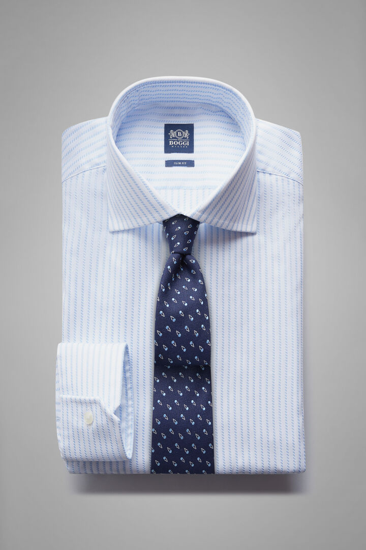 Chemise À Rayures Bleu Ciel À Col Windsor Coupe Ajustée, Blanc - bleu clair, hi-res