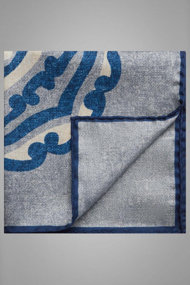 Pochette À Motifs En Soie Imprimée, Gris - Bleu, hi-res