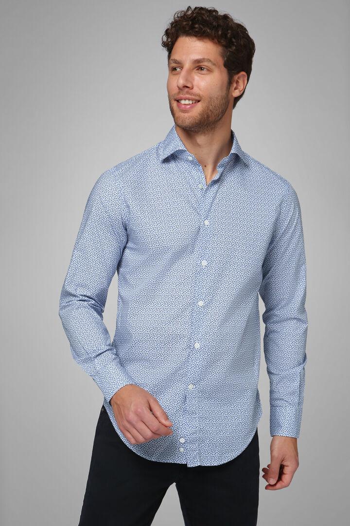 Hemd Mit Azurblauem Blumenaufdruck Firenze-Kragen Slim Fit, Hellblau, hi-res