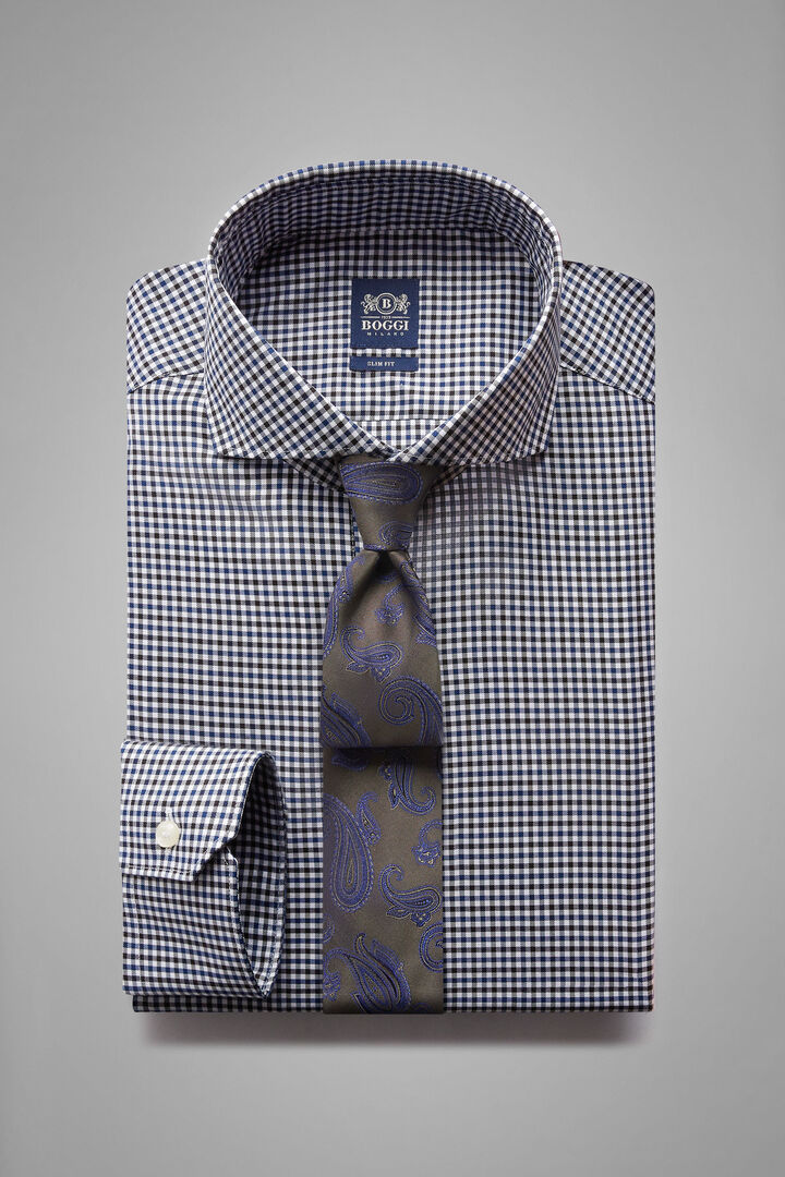 Slim Fit Navy/Blue Checked Shirt With Naples Collar, Blue - Bluette, hi-res